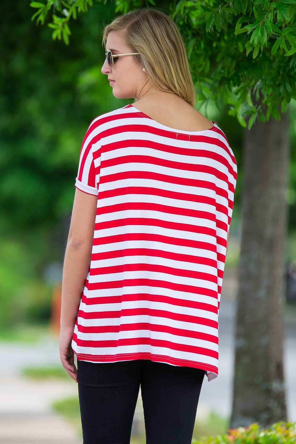 Short Sleeve Thick Stripe Piko Top - Red/White - Piko Clothing - 2