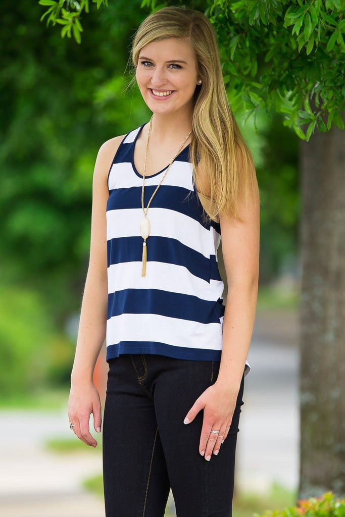 Piko Tank Top - Navy/White - Piko Clothing - 1