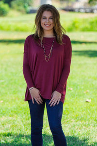 Long Sleeve Piko Top - Plum - Piko Clothing