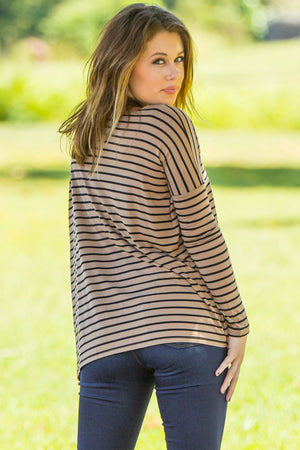 Long Sleeve Tiny Stripe Piko Top - Camel/Black - Piko Clothing
