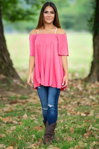 Off The Shoulder Short Sleeve Piko Top - Coral - Piko Clothing