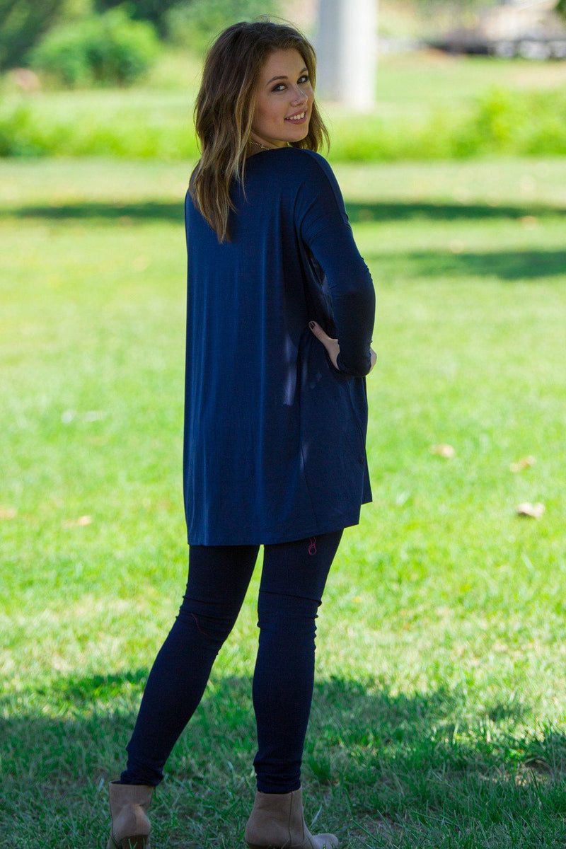 Long Sleeve V-Neck Piko Tunic - Navy - Piko Clothing