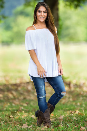 Off The Shoulder Short Sleeve Piko Top - White - Piko Clothing