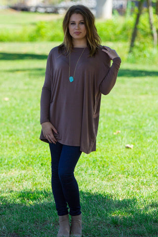 Long Sleeve Piko Tunic - Brown - Piko Clothing