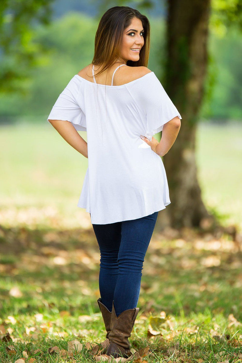 Off The Shoulder Short Sleeve Piko Top - White - Piko Clothing - 2