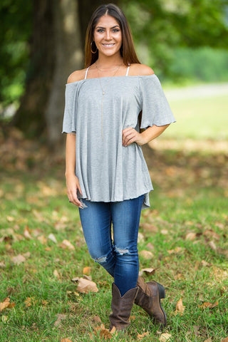 Off The Shoulder Short Sleeve Piko Top - Heather Grey - Piko Clothing