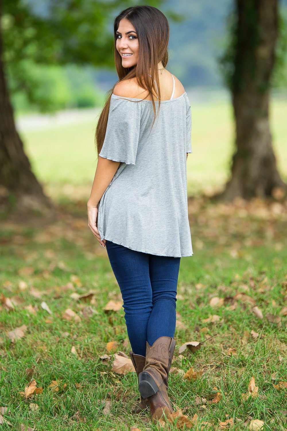 Off The Shoulder Short Sleeve Piko Top - Heather Grey - Piko Clothing - 2