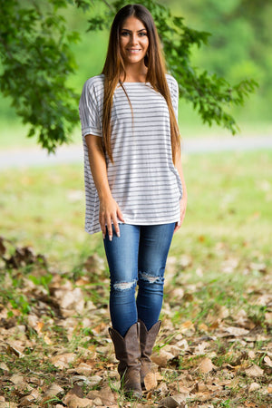 Short Sleeve Tiny Stripe Piko Top - White/Heather Grey - Piko Clothing