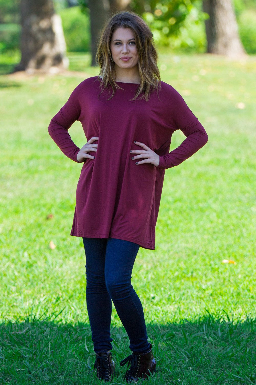 Long Sleeve Piko Tunic - Plum - Piko Clothing