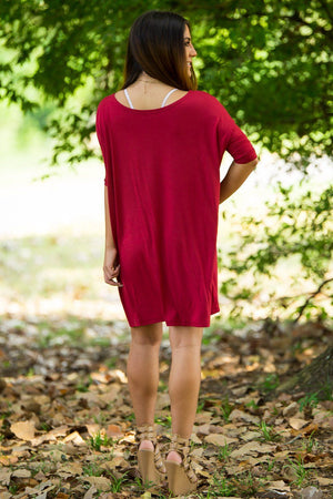 Half Sleeve Piko Tunic - Wine - Piko Clothing