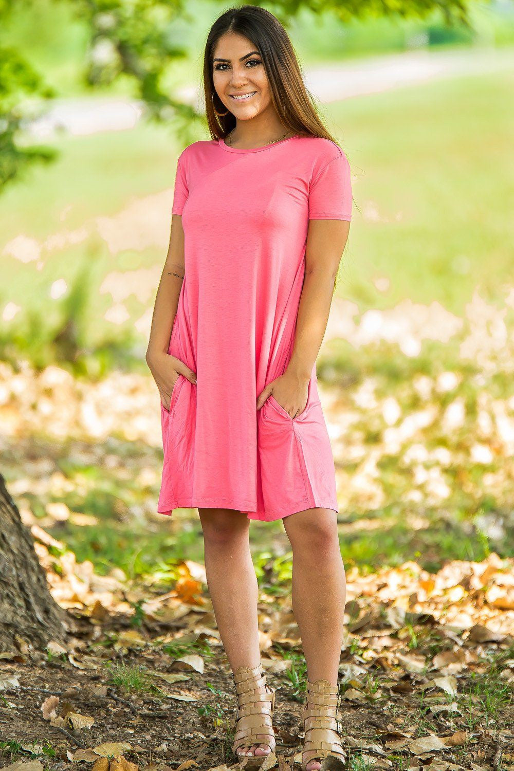 Piko Short Sleeve Swing Dress - Coral - Piko Clothing - 1