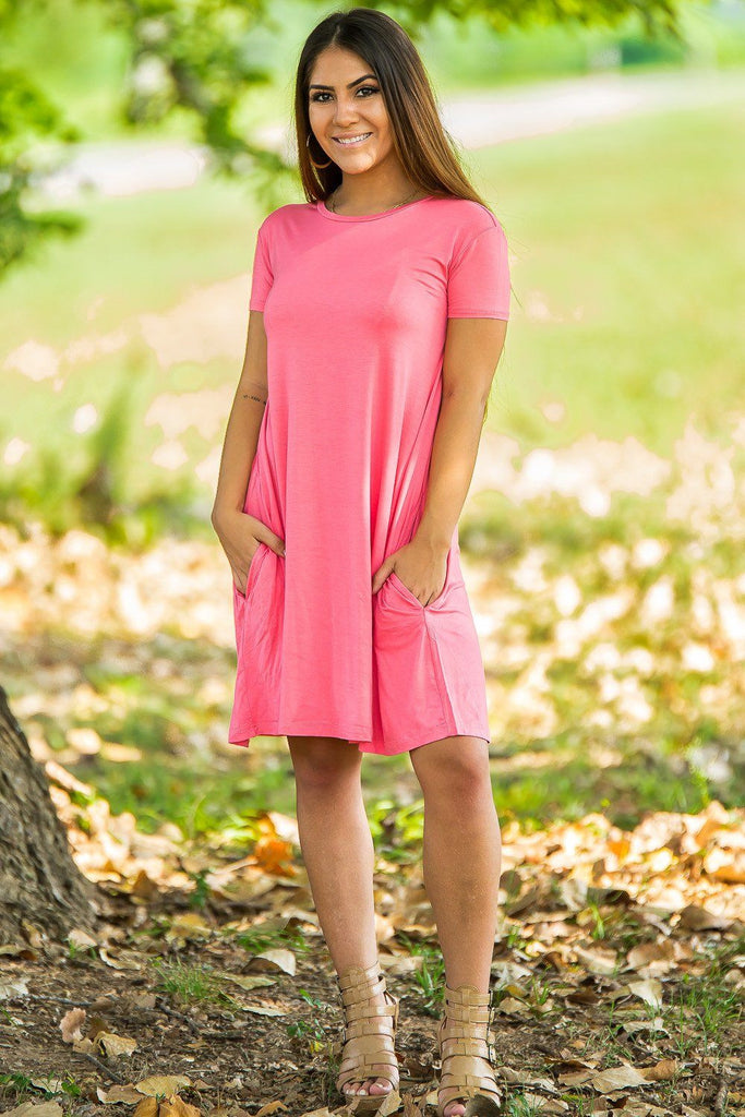 Piko Short Sleeve Swing Dress - Coral - Piko Clothing