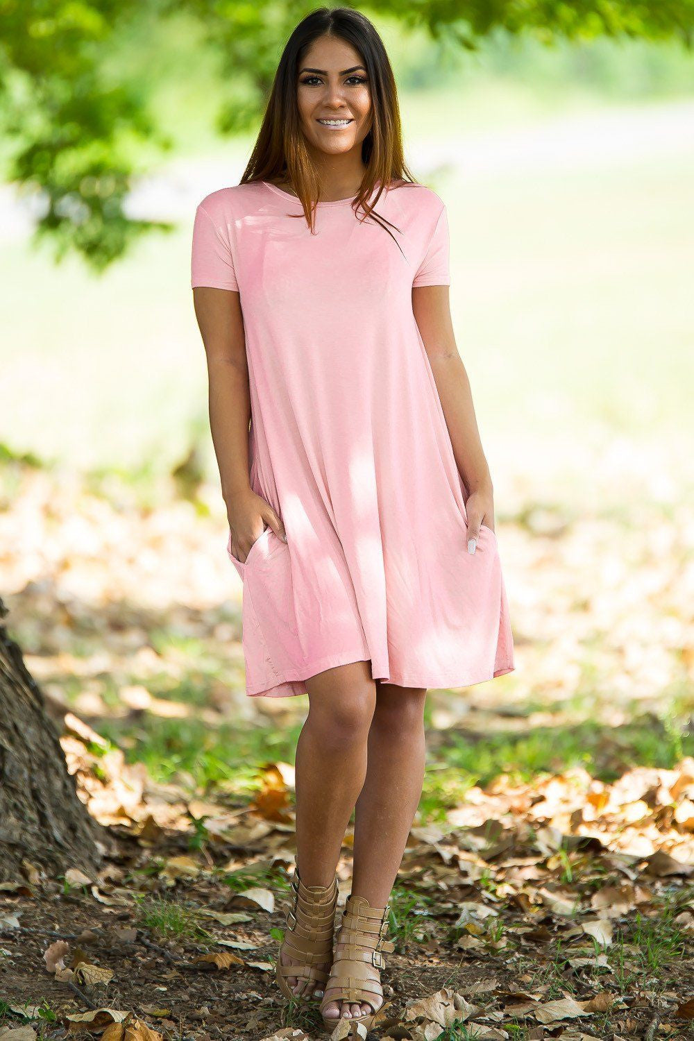Piko Short Sleeve Swing Dress - Peach - Piko Clothing