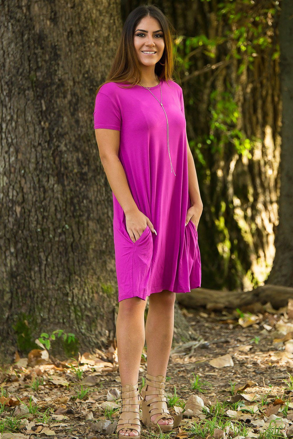 Piko Short Sleeve Swing Dress - Orchid - Piko Clothing - 1