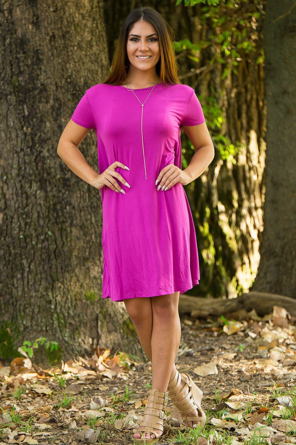 Piko Short Sleeve Swing Dress - Orchid - Piko Clothing - 2