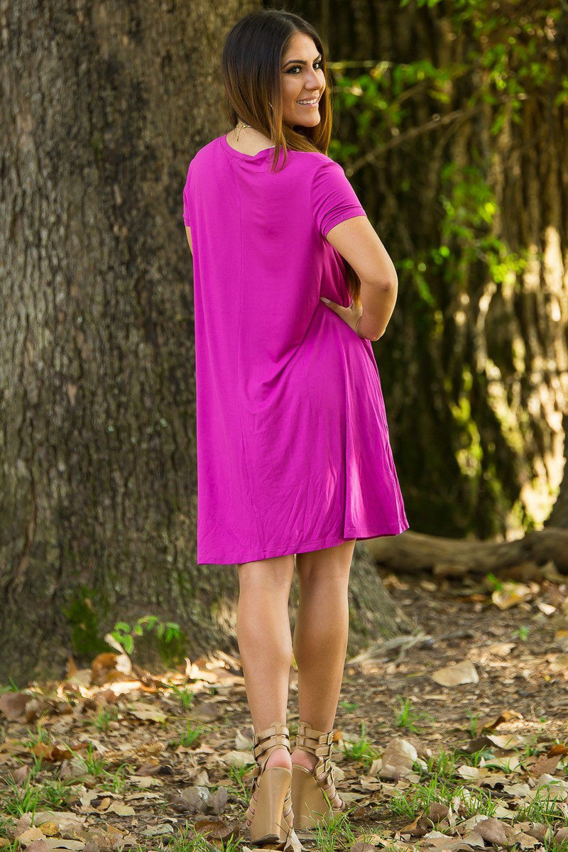 Piko Short Sleeve Swing Dress - Orchid - Piko Clothing - 3