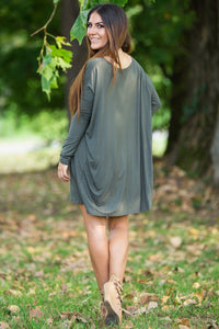 Long Sleeve V-Neck Piko Tunic - Army - Piko Clothing