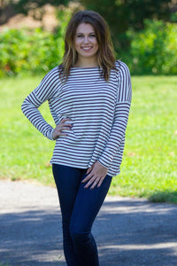 Long Sleeve Tiny Stripe Piko Top - Burgundy/White - Piko Clothing