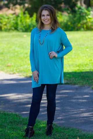 Long Sleeve Piko Tunic - Light Teal - Piko Clothing