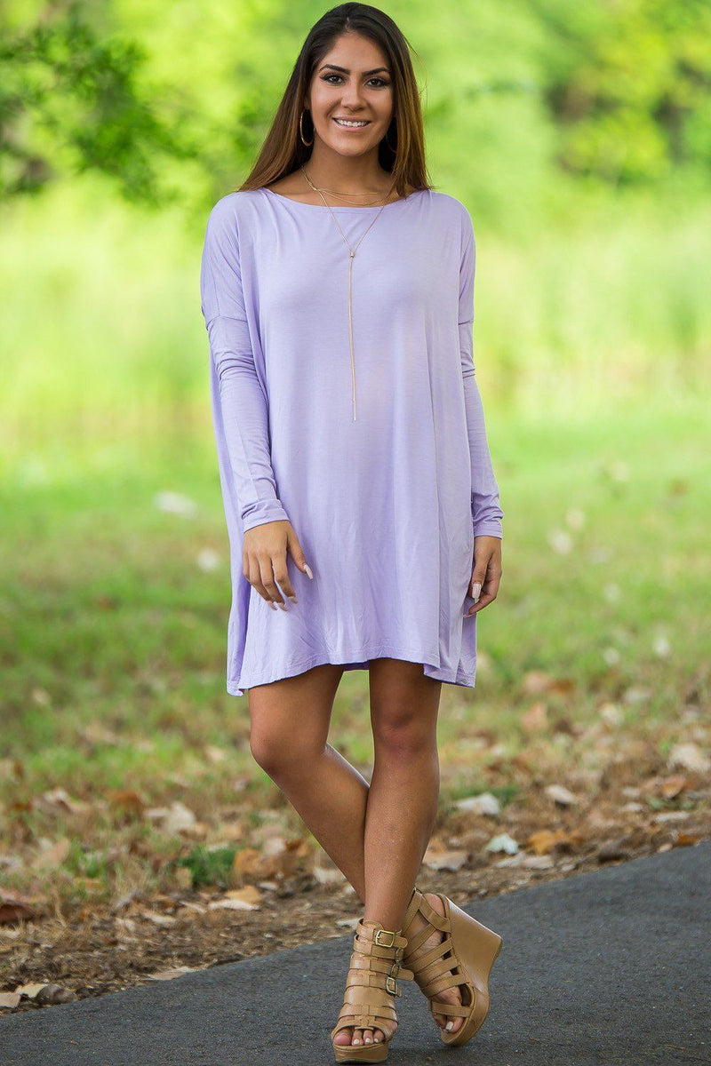 Long Sleeve Piko Tunic - Lilac - Piko Clothing