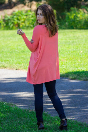 Long Sleeve Piko Tunic - Dark Peach - Piko Clothing