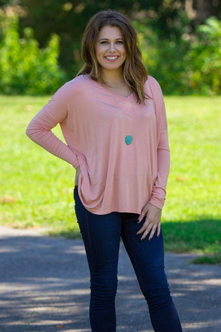 Long Sleeve V-Neck Piko Top - Nude - Piko Clothing
