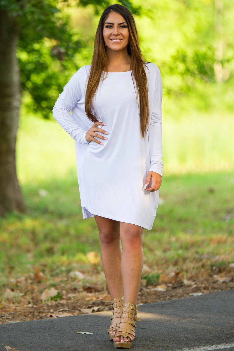 Long Sleeve Piko Tunic - White - Piko Clothing