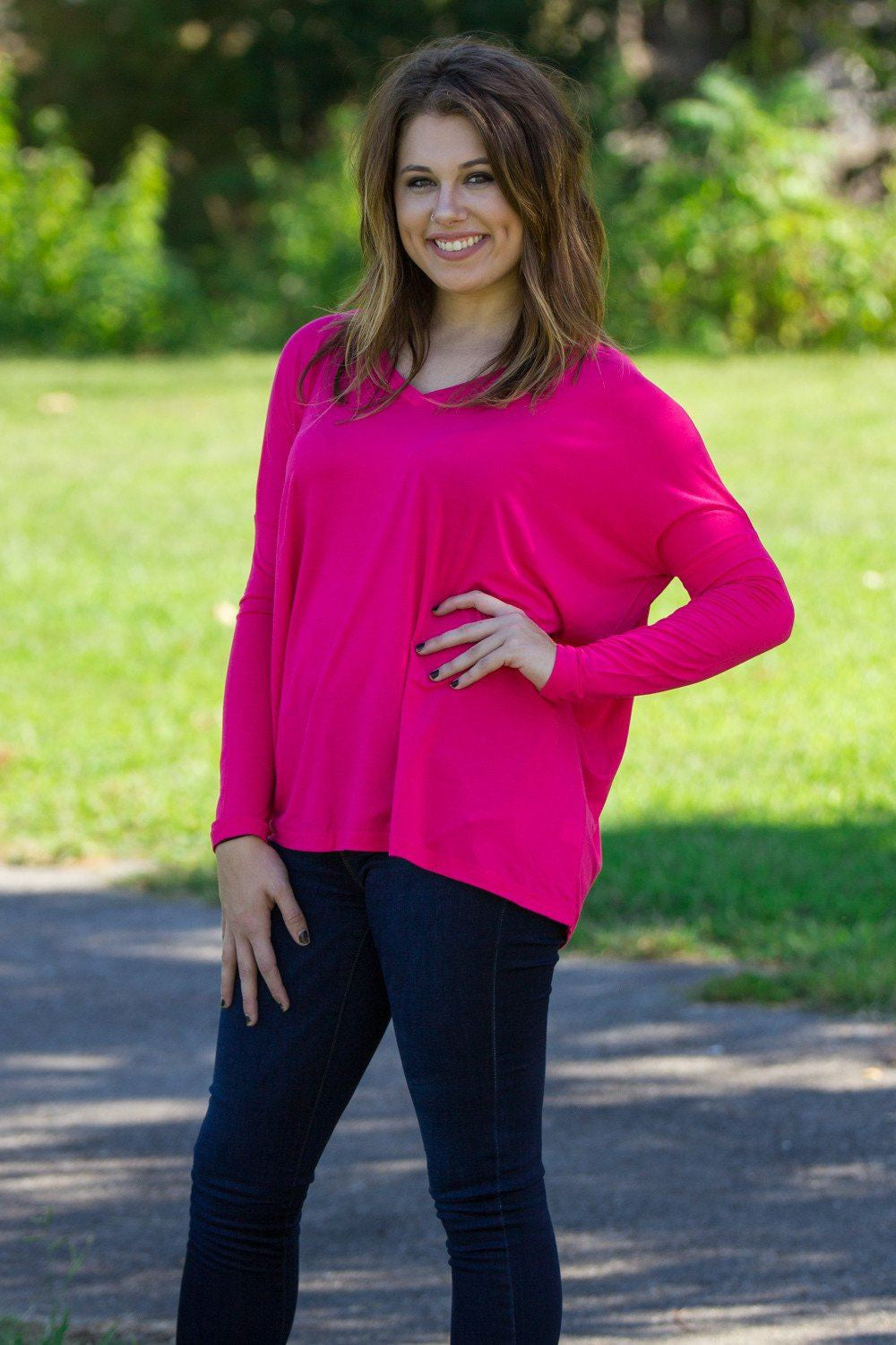 Long Sleeve V-Neck Piko Top - Hot Pink - Piko Clothing