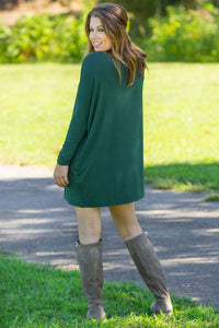 Long Sleeve Piko Tunic - Forest Green - Piko Clothing