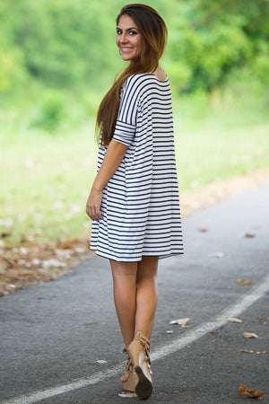 Half Sleeve Piko Tunic - White/Black - Piko Clothing
