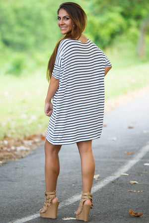 Half Sleeve Piko Tunic - White/Navy - Piko Clothing