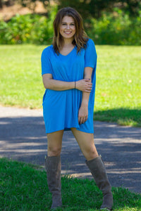 Short Sleeve V-Neck Piko Tunic - Dazzling Blue - Piko Clothing - 1