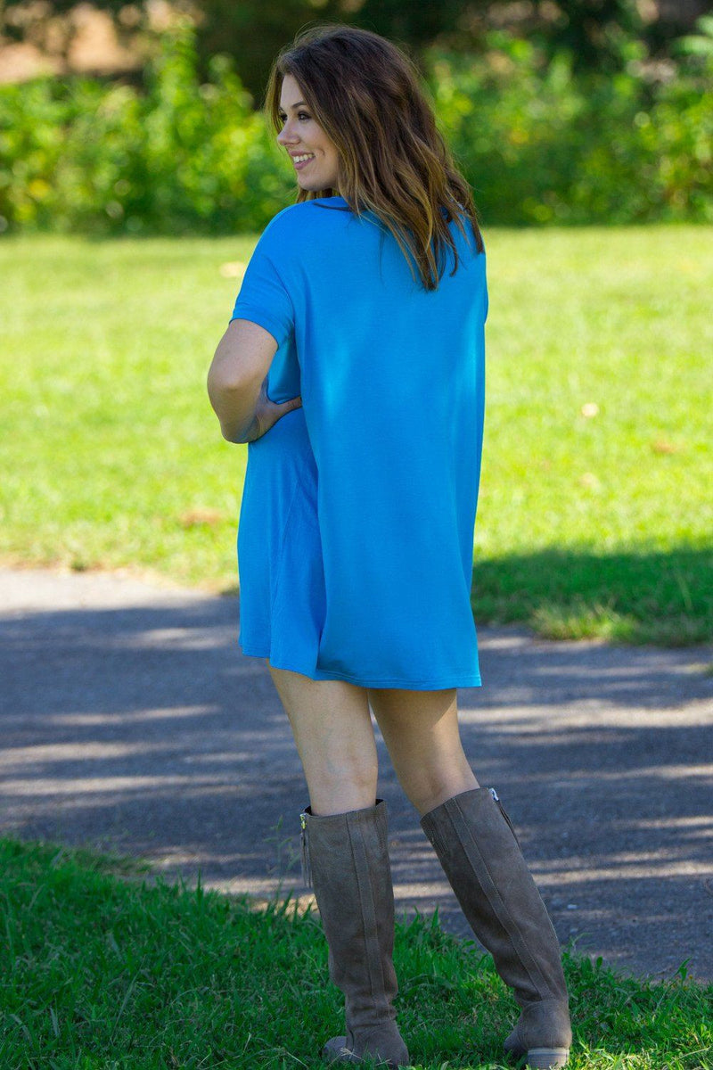 Short Sleeve V-Neck Piko Tunic - Dazzling Blue - Piko Clothing