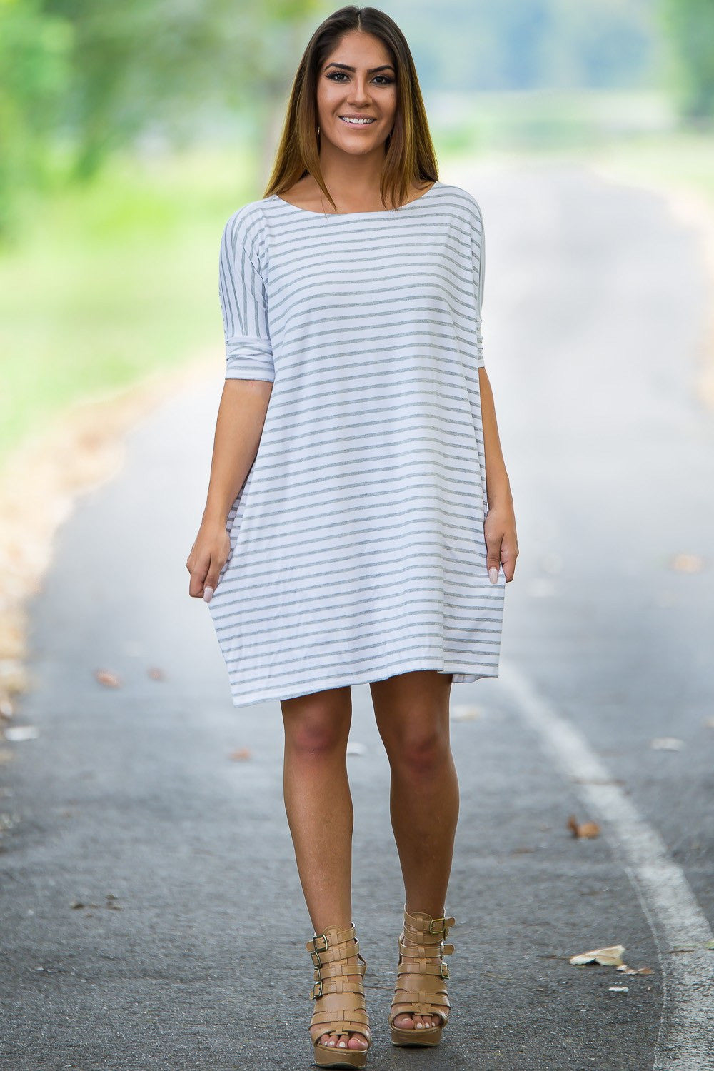 Half Sleeve Piko Tunic - White/Grey - Piko Clothing