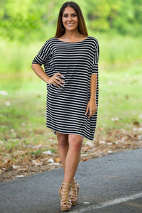 Half Sleeve Piko Tunic - Black/White - Piko Clothing