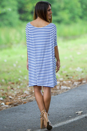 Half Sleeve Piko Tunic - White/Royal - Piko Clothing