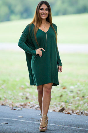 Long Sleeve V-Neck Piko Tunic - Forest Green - Piko Clothing - 1