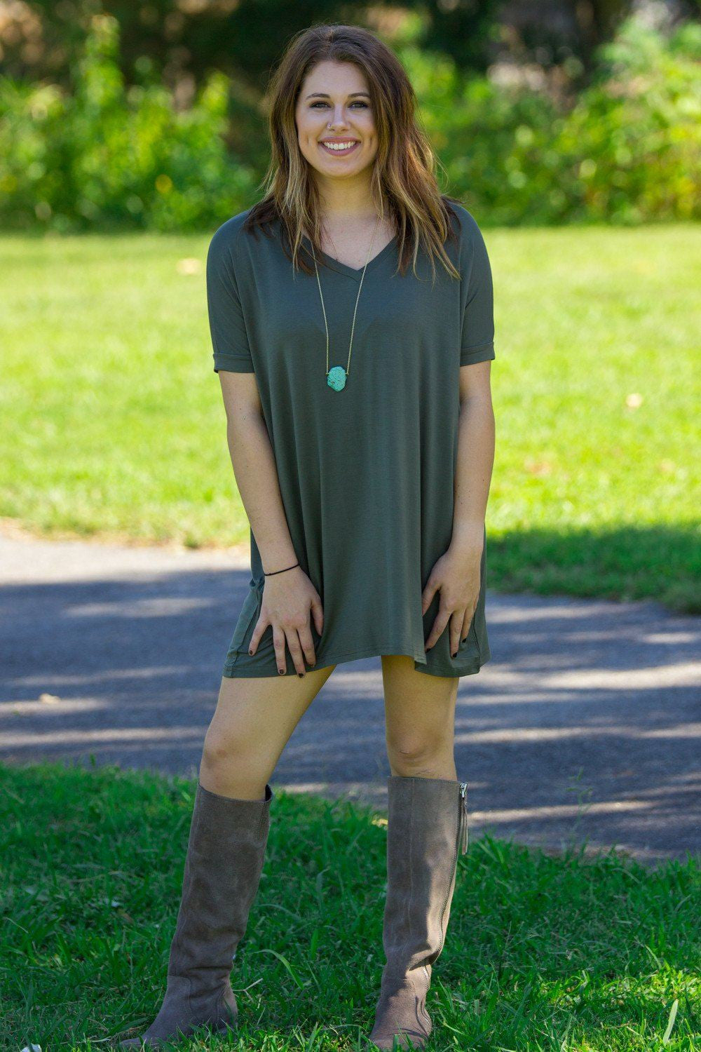 Short Sleeve V-Neck Piko Tunic - Army - Piko Clothing - 1