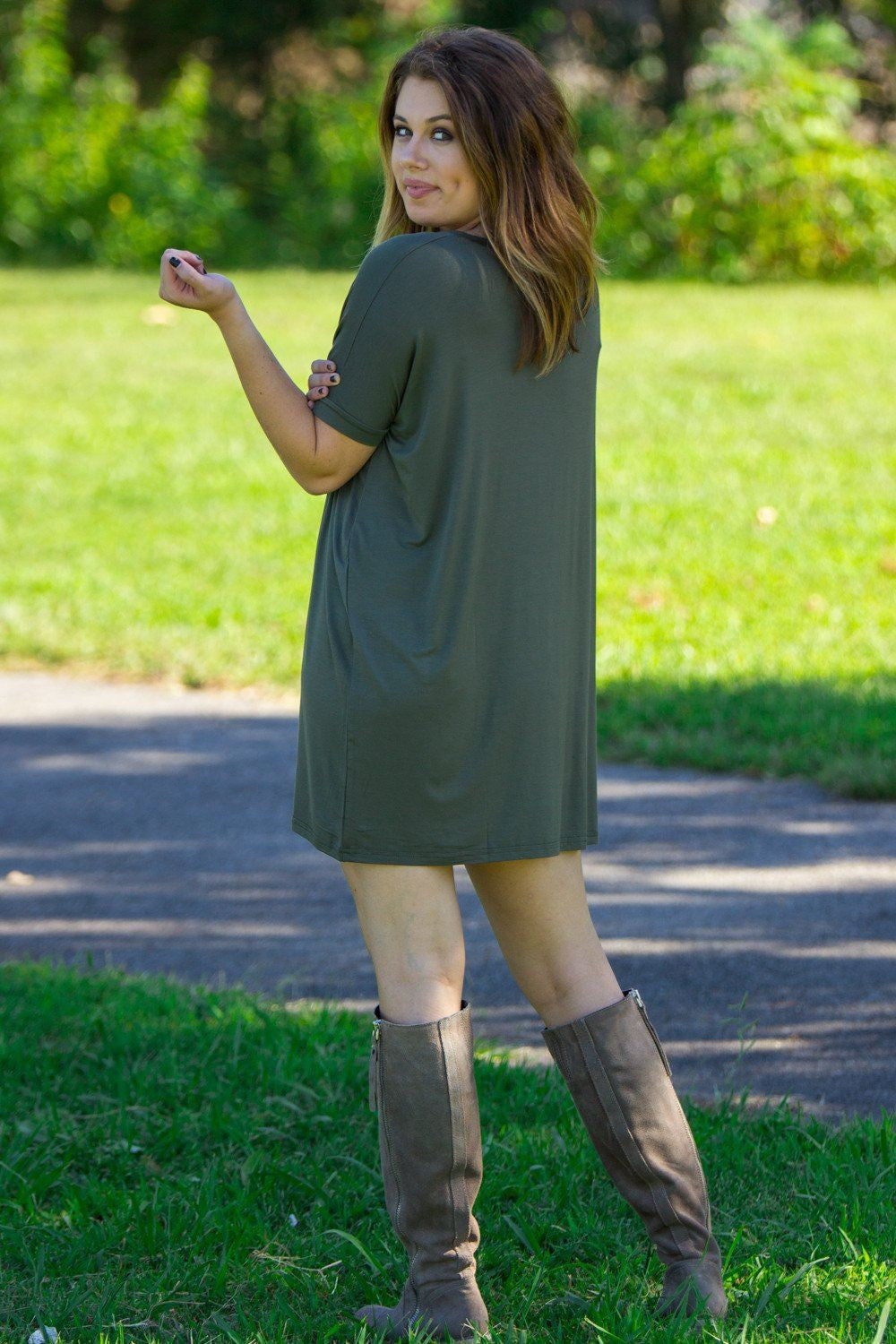 Short Sleeve V-Neck Piko Tunic - Army - Piko Clothing