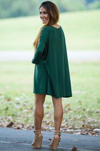 Long Sleeve V-Neck Piko Tunic - Forest Green - Piko Clothing