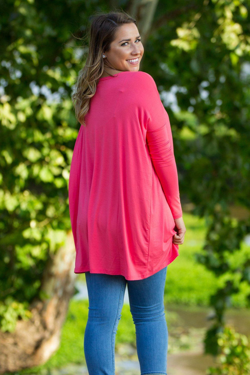 Long Sleeve Piko Tunic - Coral - Piko Clothing
