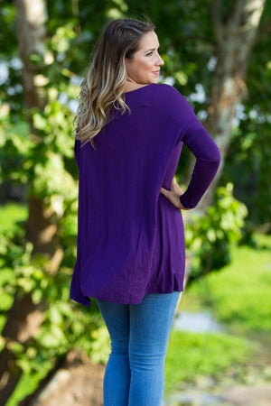 Long Sleeve Piko Tunic - Dark Purple - Piko Clothing