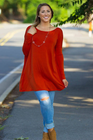Long Sleeve Piko Tunic - Dark Spice - Piko Clothing