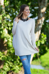 Long Sleeve Piko Tunic - Beige - Piko Clothing