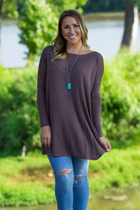 Long Sleeve Piko Tunic - Dark Brown - Piko Clothing