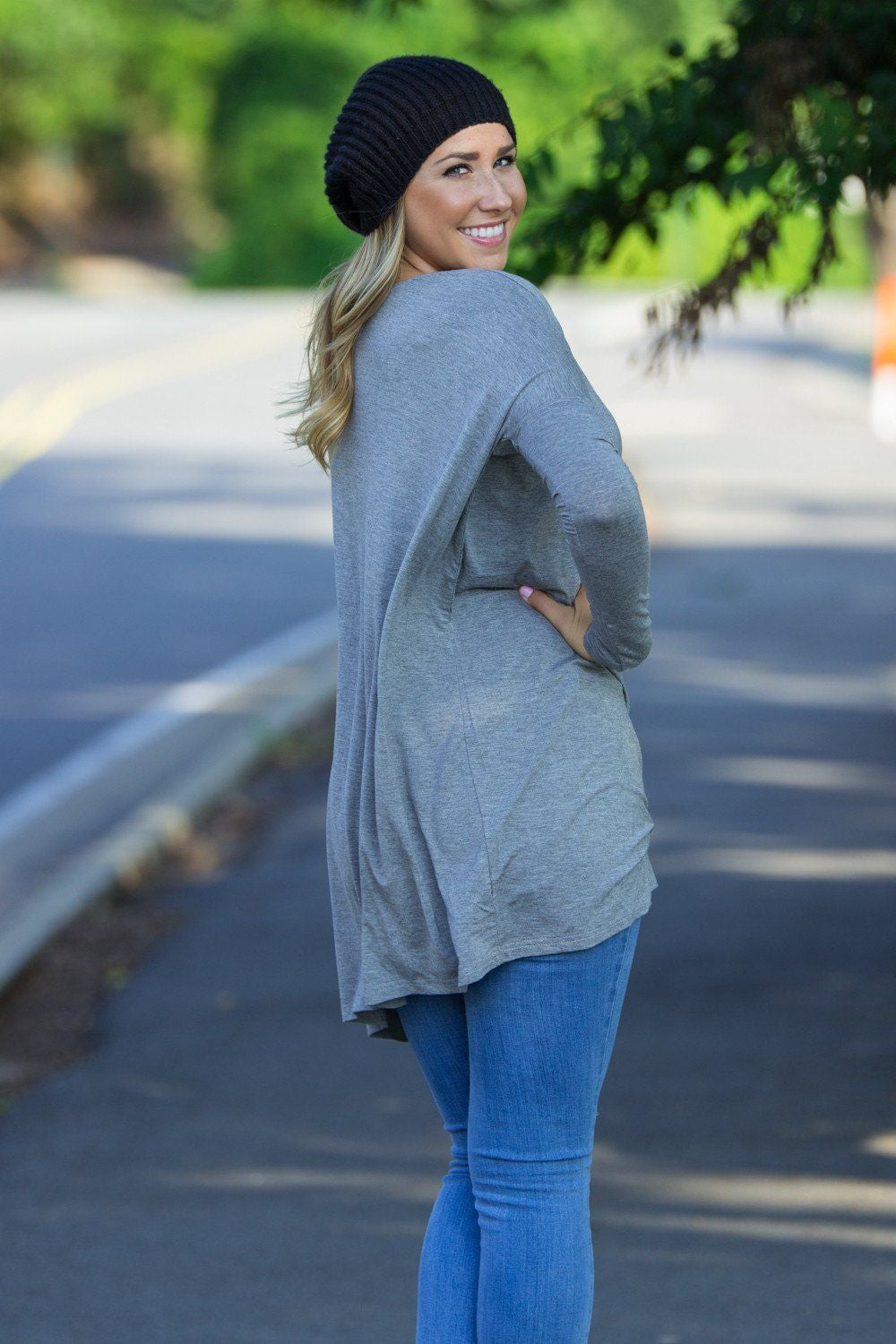 Long Sleeve V-Neck Piko Tunic - Heather Grey - Piko Clothing