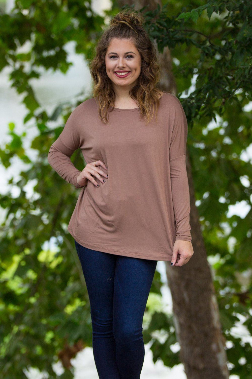 Long Sleeve Piko Top - Mocha - Piko Clothing