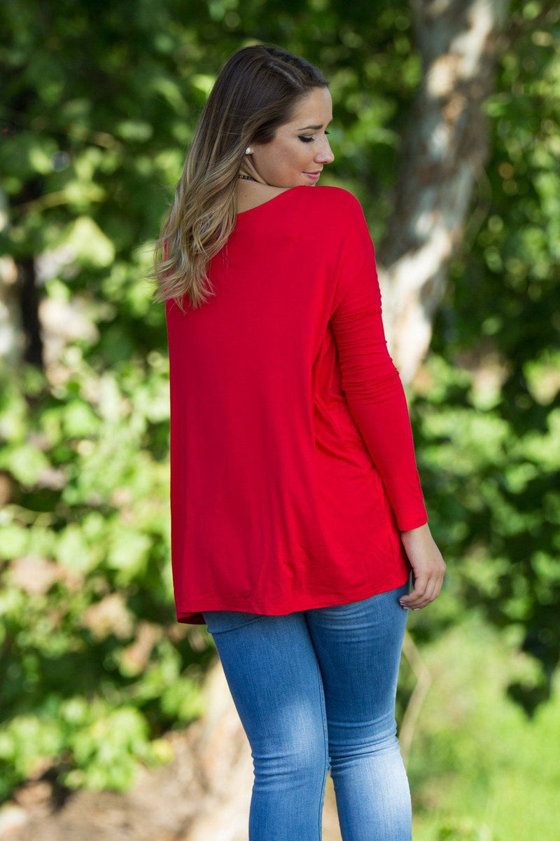 Long Sleeve Piko Top - Red (FINAL SALE) - Piko Clothing
