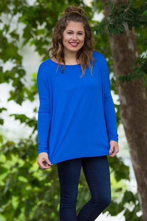 Long Sleeve Piko Top - Royal Blue - Piko Clothing