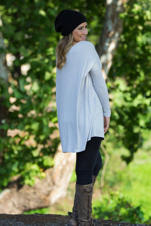 Long Sleeve Piko Tunic - Silver - Piko Clothing